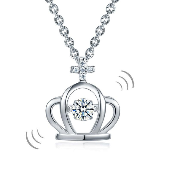 Crown Dancing Stone Kids Girl Pendant Necklace Solid 925 Sterling Silver Children Jewelry XFN8071