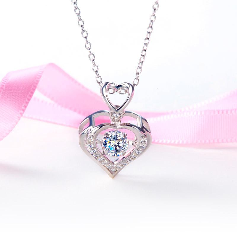 Double Heart Dancing Stone Pendant Necklace 925 Sterling Silver Good for Wedding Bridesmaid Gift XFN8079