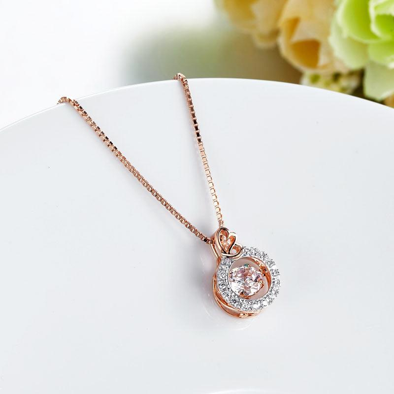 Dancing Stone Pendant Necklace Solid 925 Sterling Silver Rose Gold Plated