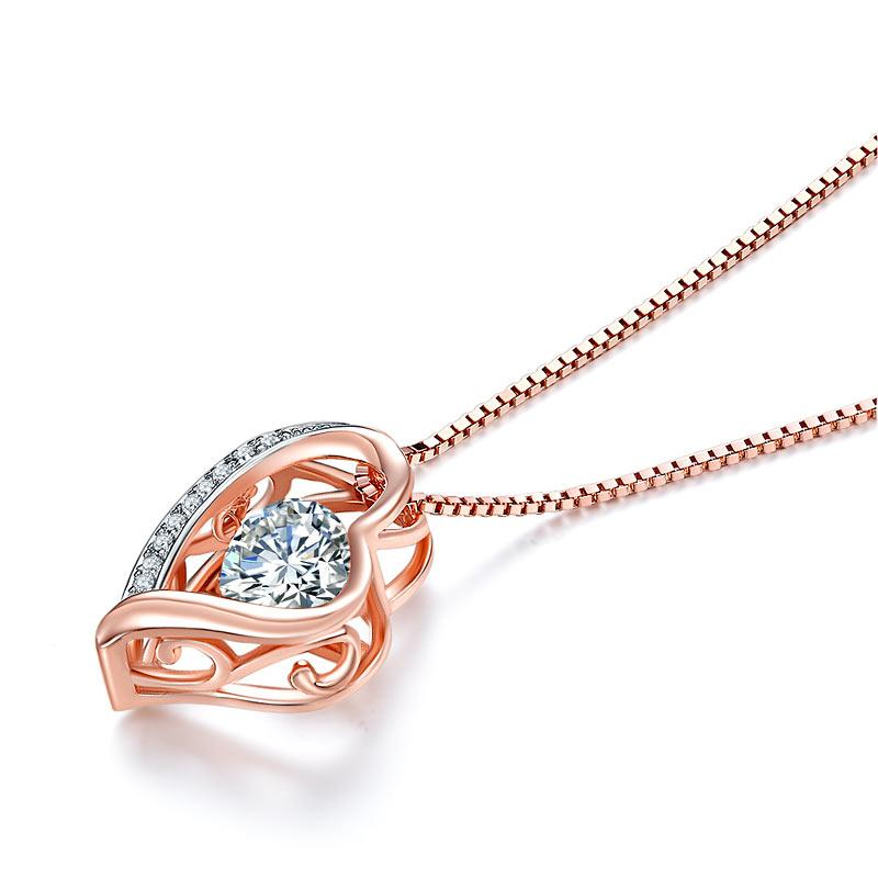 Dancing Stone Heart Pendant Necklace Solid 925 Sterling Silver Rose Gold Plated