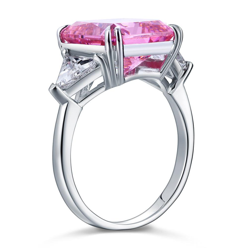 Solid 925 Sterling Silver Three-Stone Luxury Ring 8 Carat Fancy Pink Created Diamond