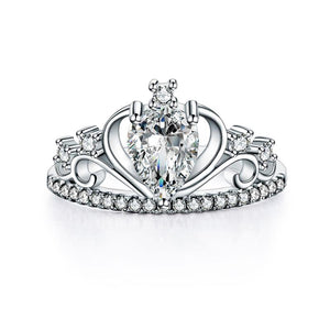 Solid 925 Sterling Silver Crown Ring 1 Carat Pear Cut for Lady Trendy Stylish Jewelry XFR8278