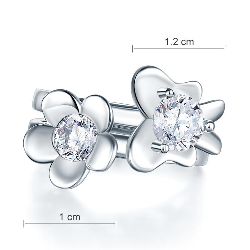 Solid 925 Sterling Silver 2-Pcs Butterfly Flower Ring Set Lady Jewelry 2017 New Design XFR8281