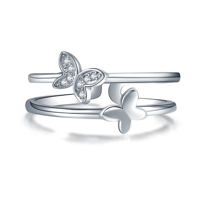 Solid 925 Sterling Silver Ring Band Fashion Butterfly