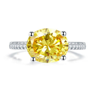 Solid 925 Sterling Silver 4 Carat Anniversary Luxury Ring Yellow Canary Oval Party Jewelry XFR8304