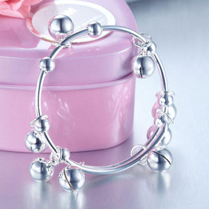 Solid 990 Silver Bells Bangle Bracelet Baby Kids Children Gift Adjustable Size XFB8003