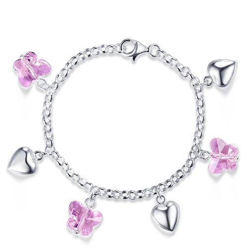 Solid 925 Sterling Silver Pink Butterfly Hearts Bracelet Baby Kids Girl Gift Children Jewelry XFB8004