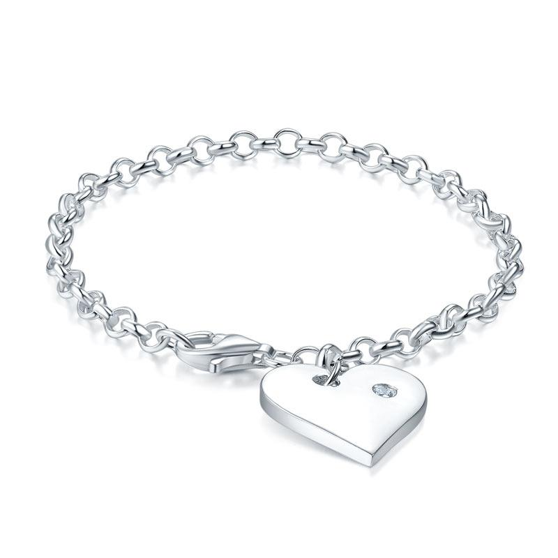 Kids Girl Gift Children Jewelry Solid 925 Sterling Silver Dangle Heart Bracelet