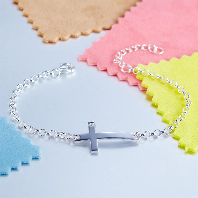 Kids Girl Gift Children Jewelry Solid 925 Sterling Silver Cross Bracelet XFB8008