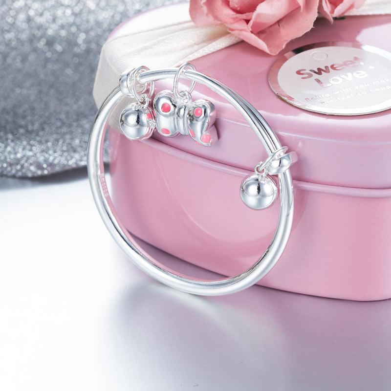 Newborn Girl 999 Pure Silver Knot Bells Baby Bangle XFB8057