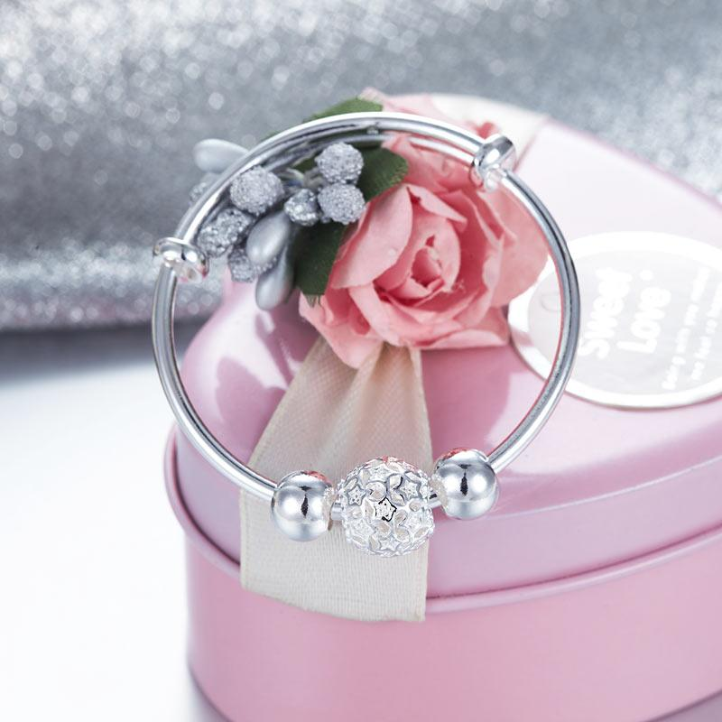 Newborn Baby 999 Pure Silver Flower Ball Baby Bangle XFB8058