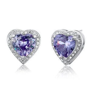 3 Carat Created Purple Sapphire 925 Sterling Silver Heart Stud Earrings XFE8024