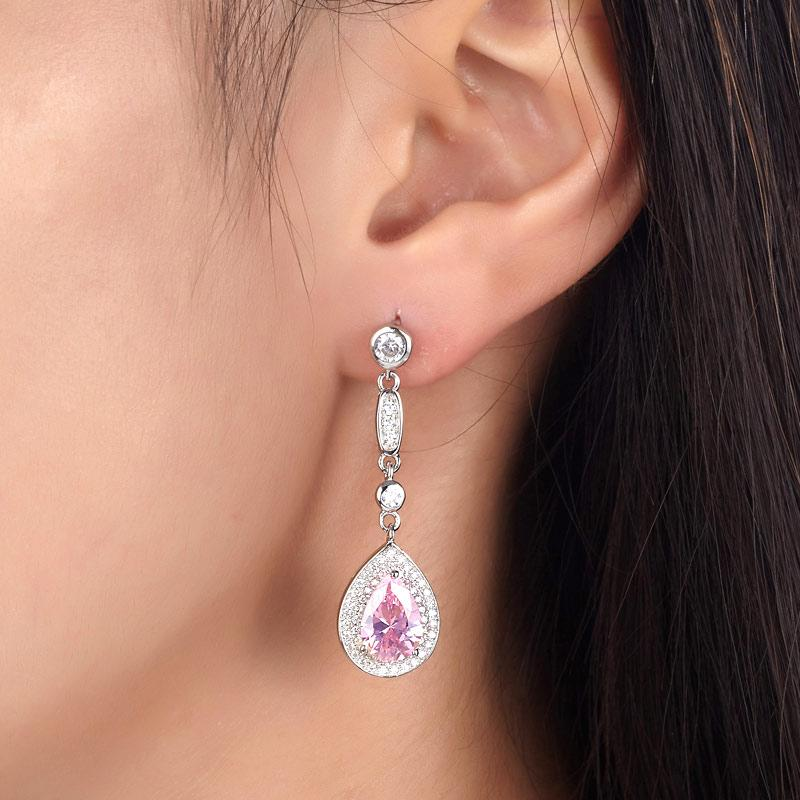 1.5 Carat Pear Cut Pink Created Sapphire 925 Sterling Silver Dangle Earrings XFE8057