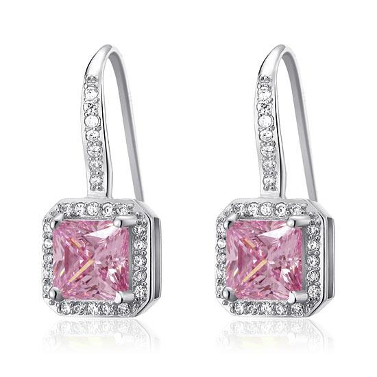 1.5 Ct Fancy Pink Created Diamond 925 Sterling Silver Fashion Bridesmaid Earrings XFE8123