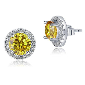 2.5 Carat Round Fancy Yellow Halo (Removable) Stud 925 Sterling Silver Earrings XFE8127