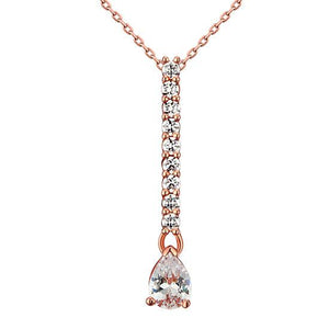 925 Sterling Silver Rose Gold Plated Pendant Necklace Created Diamond XFN8002