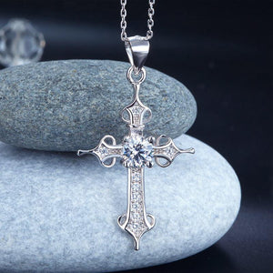 925 Sterling Silver Cross Pendant Necklace Round Cut Created Diamond Jewelry XFN8027