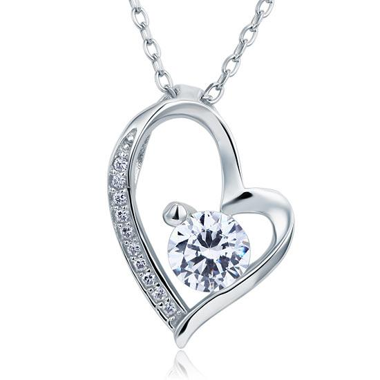 1 Carat Created Diamond Heart 925 Sterling Silver Pendant Necklace XFN8033