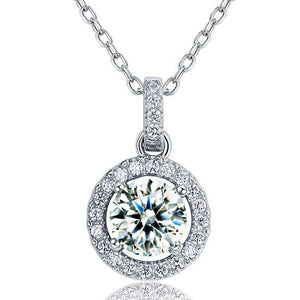 1 Carat Round Cut Created Diamond Bridal 925 Sterling Silver Pendant Necklace XFN8037