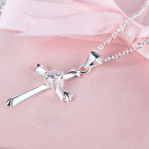 Kids Girl Cross Pendant Necklace 925 Sterling Silver Children Jewelry XFN8065
