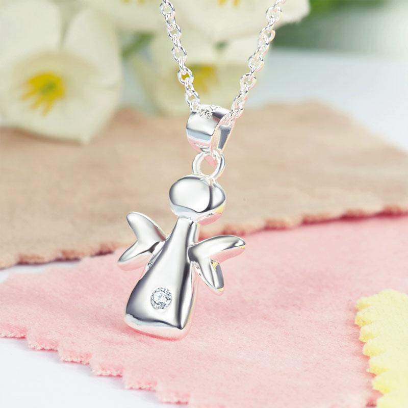 Kids Girl Angel Pendant Necklace 925 Sterling Silver Children Jewelry XFN8066