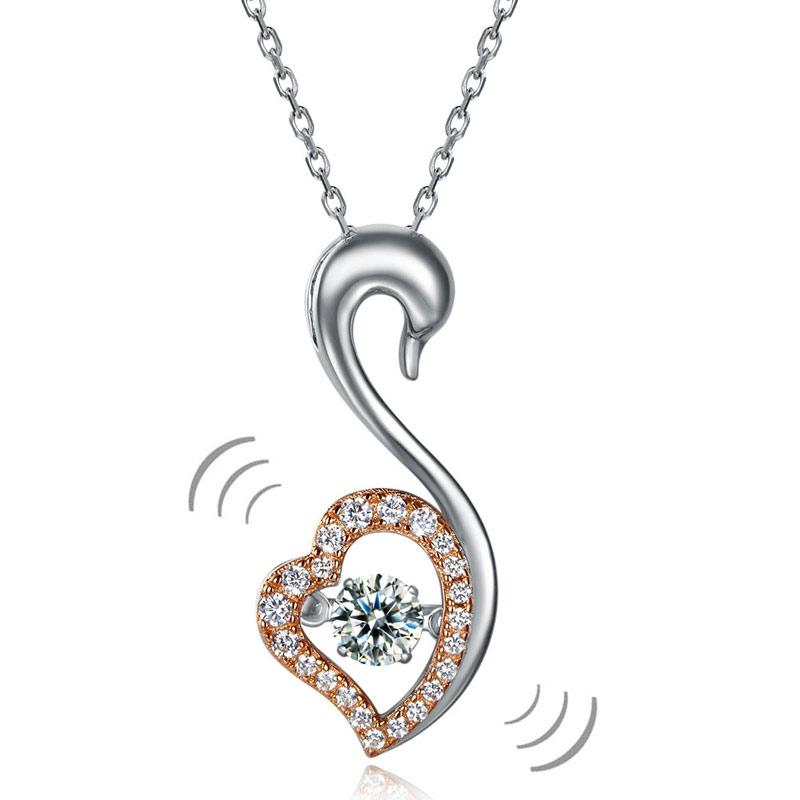 Swan Dancing Stone Pendant Necklace 925 Sterling Silver Good for Wedding Bridesmaid Gift XFN8076
