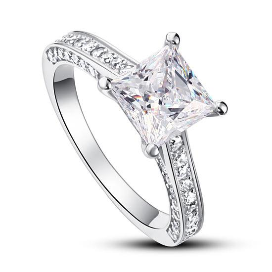 1.5 Carat Princess Cut Created Diamond 925 Sterling Silver Wedding Engagement Ring XFR8009