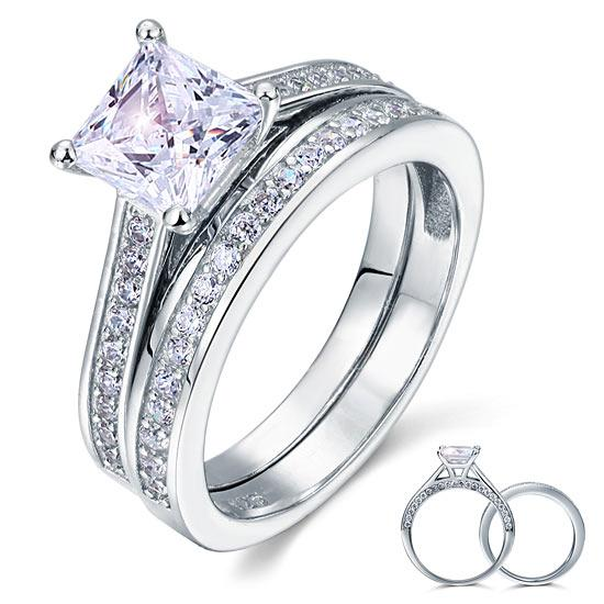 1.5 Carat Princess Cut Created Diamond 925 Sterling Silver 2-Pcs Wedding Engagement Ring Set XFR8009S