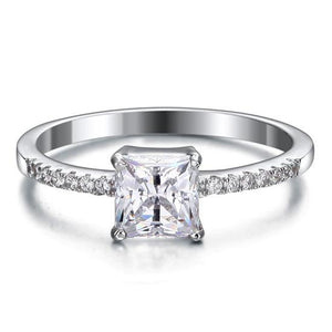 1 Carat Created Princess Diamond Engagement Sterling 925 Silver Ring XFR8024