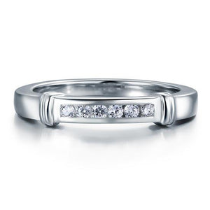 Channel Set Created Diamond Solid Sterling 925 Silver Wedding Ring XFR8044