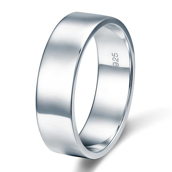 Men's Solid Sterling 925 Silver Wedding Band Ring XFR8056