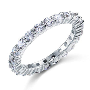 Solid 925 Sterling Silver Wedding Band Eternity Stacking Ring Jewelry Round Cut XFR8061