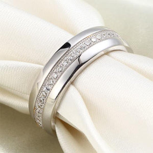 Men's Wedding Band Solid Sterling 925 Silver Created Diamond Ring XFR8068