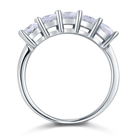 Princess Cut  Five Stone 1.25 Ct Solid 925 Sterling Silver Bridal Wedding Band Ring Jewelry XFR8072