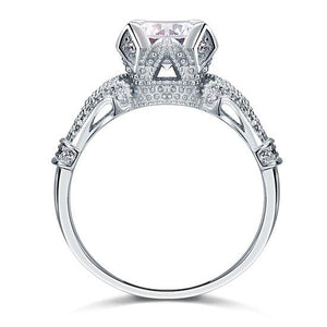 Vintage Victorian Style 2 Carat Created Diamond Solid 925 Sterling Silver Wedding Engagement Ring XFR8088