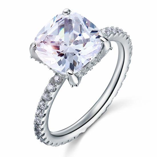 5 Carat Cushion Cut Created Diamond Solid 925 Sterling Silver Wedding Engagement Promise Ring Jewelry XFR8092