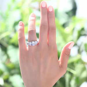 Vintage Style 2 Carat Created Diamond Solid 925 Sterling Silver Wedding Engagement Ring XFR8093