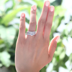 Vintage Style 1.25  Solitaire Created Diamond Solid Sterling 925 Silver 2-Pc Bridal Wedding Engagement Ring Set XFR8096
