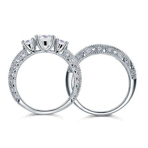 Vintage Style Victorian Art Deco 1.5 Carat Created Diamond Solid Sterling 925 Silver 2-Pcs Wedding Engagement Ring Set XFR8100