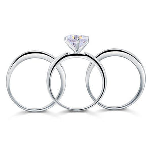 2 Ct Created Diamond 925 Sterling Silver Wedding Engagement Ring Set 3-Pcs XFR8101