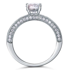 Vintage Style 1.25 Carat Created Diamond Solid 925 Sterling Silver Bridal Wedding Engagement Ring Jewelry XFR8110