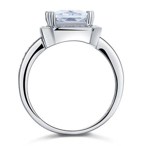 4 Carat Rectangle Solid 925 Sterling Silver Wedding Engagement Ring Jewelry XFR8115