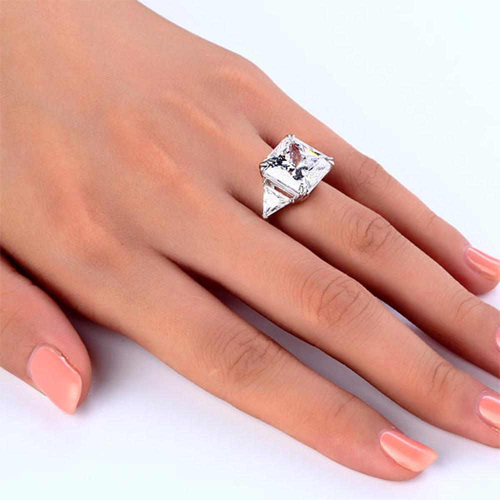 Solid 925 Sterling Silver Three-Stone Luxury Ring Anniversary 8 Carat Created Diamond