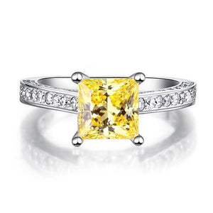 1.5 Carat Princess Cut Yellow Canary Created Diamond 925 Sterling Silver Wedding Engagement Ring XFR8194