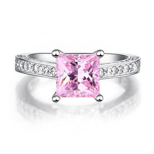 1.5 Carat Princess Cut Fancy Pink Created Diamond 925 Sterling Silver Wedding Engagement Ring XFR8195