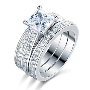 925 Sterling Silver 3 Pcs Wedding Engagement Ring Set Created Diamond XFR8197
