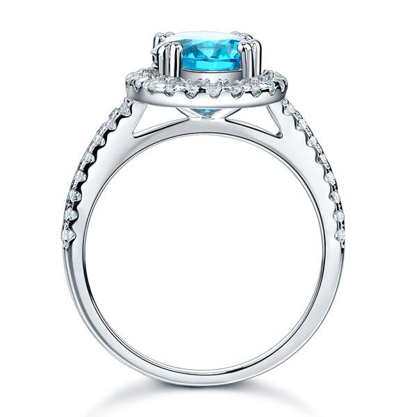925 Sterling Silver Wedding Engagement Halo Ring 2 Carat Fancy Blue Created Diamond XFR8200