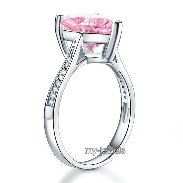 925 Sterling Silver Bridal Engagement Ring 3.5 Carat Heart Pink Created Diamond Jewelry XFR8216