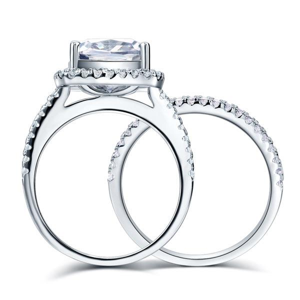 925 Sterling Silver Wedding Halo Ring Set 2 Carat Created Diamond XFR8218