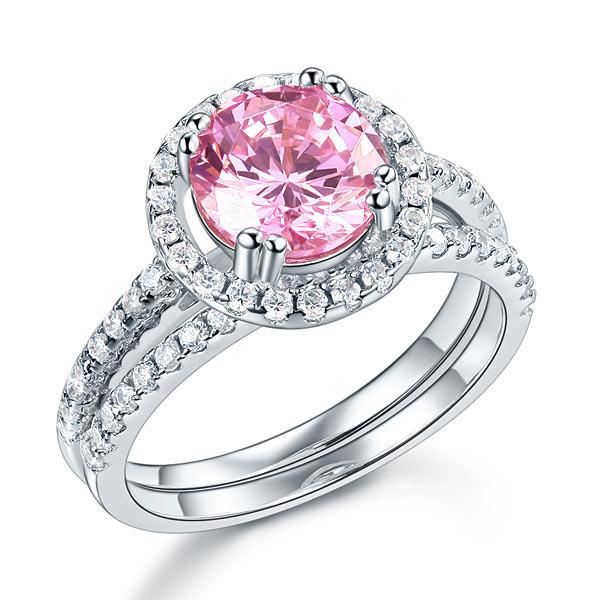 925 Sterling Silver Wedding Engagement Halo Ring Set 2 Carat Pink Created Diamond Wedding Jewelry XFR8220
